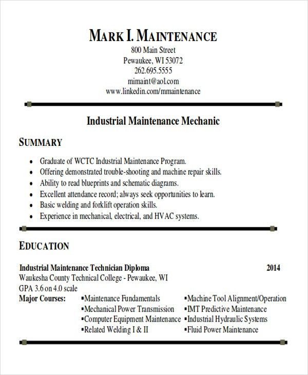 Sample Maintenance Technician Resume - 9+ Examples in Word, PDF