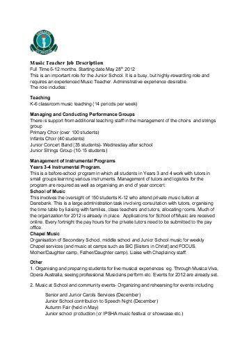 Job Description: Elementary Music Teacher Grade K – 2/3