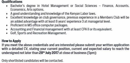 2017 Kakamega Sports Club Manager Job Vacancy - JobSpot Kenya