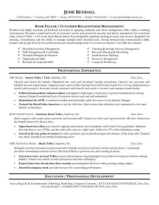 Resume Skills For Bank Teller 4 Bank Teller Resume Example ...