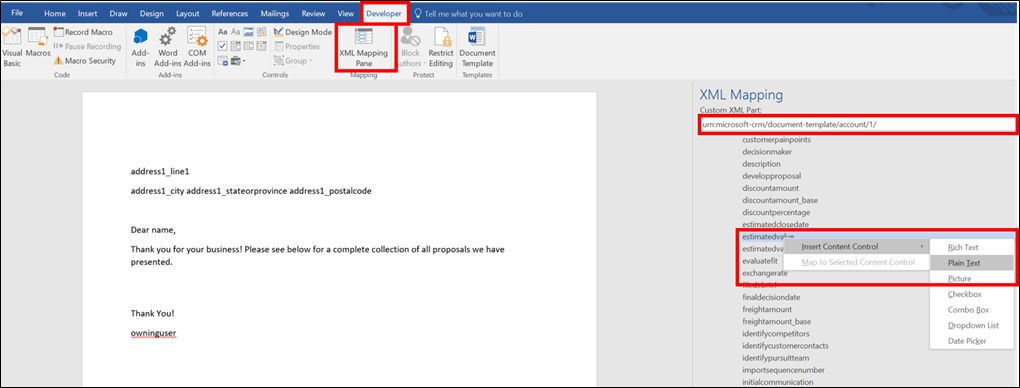 How to Create a Microsoft Word Template in Microsoft Dynamics 365