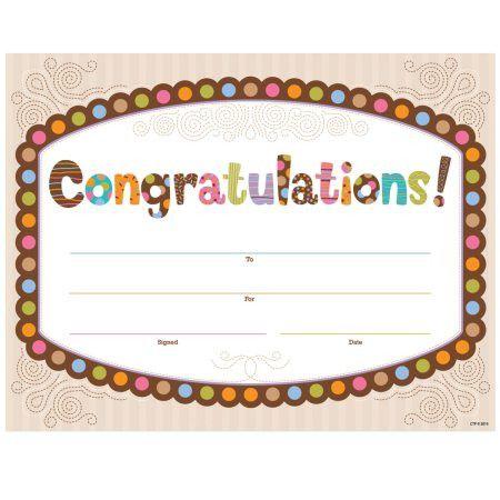 Certificates - Congratulations Polka Dots Chocolate | Anderson's