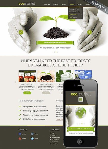 Ecology Products website template, ecology Wordpress theme ...