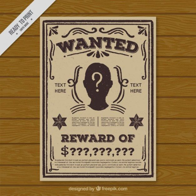 Wanted poster template in flat design Vector | Free Download