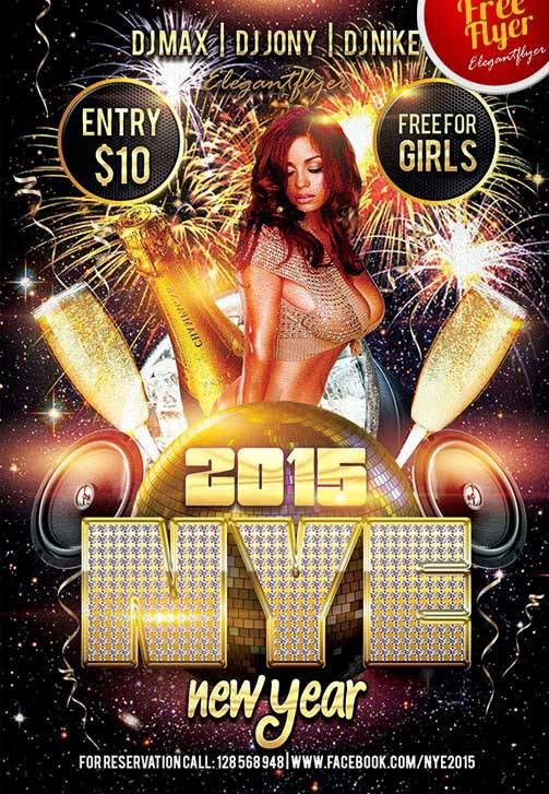 Download New Year Club and Party Flyer PSD Template Photoshop ...