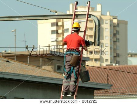 High Voltage Electrician Working High Voltage Stock Photo 2012721 ...