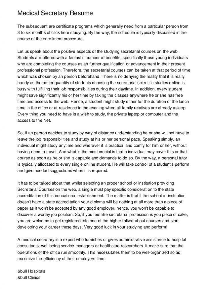 Impressive Inspiration Medical Secretary Resume 12 - Resume Example