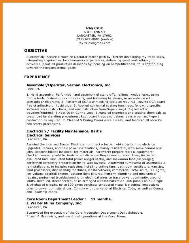 Production Operator Resume Production Operator Resume Samples - xerox operator resume