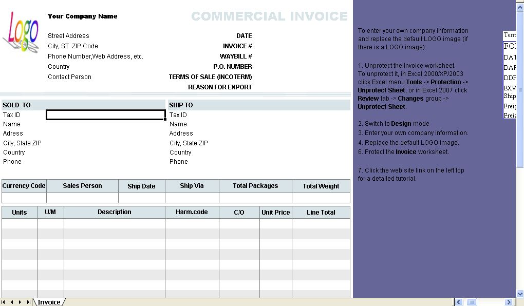 Commercial Invoice Template - Uniform Invoice Software