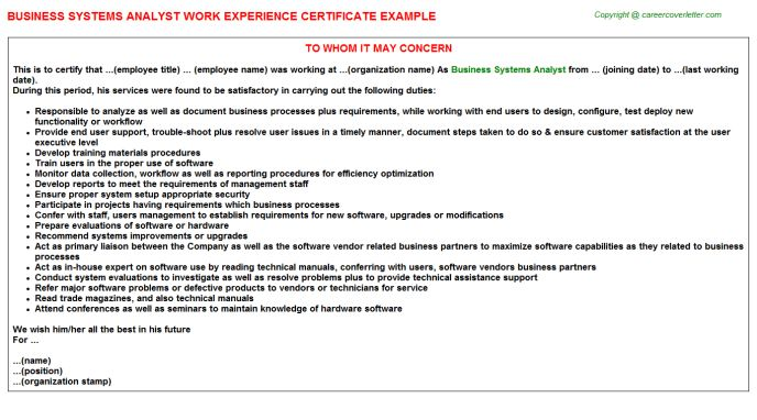 Business Systems Analyst Work Experience Certificate