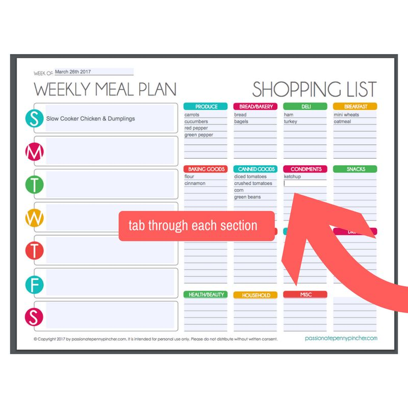 Free Editable Menu Plan and Grocery List!   Passionate Penny Pincher