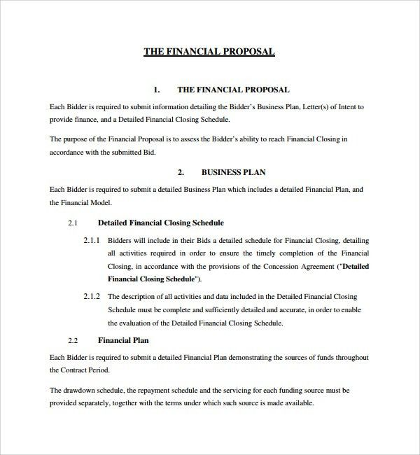 18+ Sample Business Proposal Template Doc | Sample Financial ...