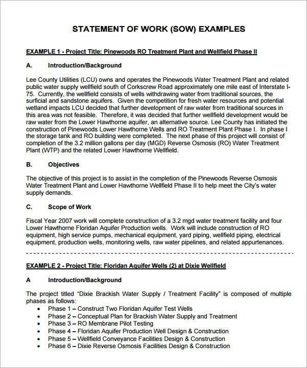 Statement Of Work Template Consulting | Template idea