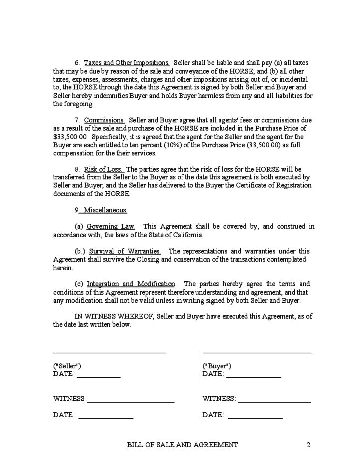Horse Bill of Sale and Agreement - Kentucky Free Download