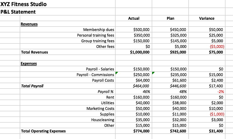 Profit and Loss Statement   The Association of Fitness Studios