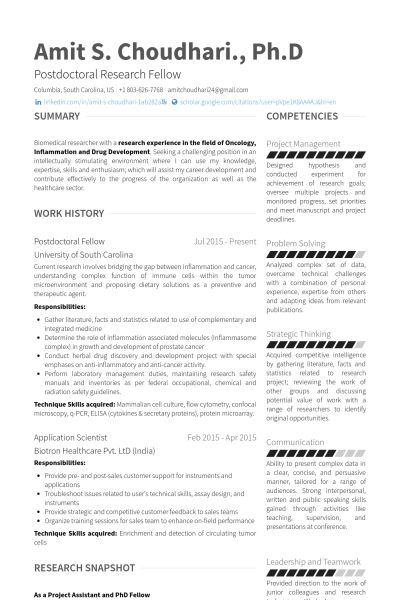 Postdoctoral Fellow Resume samples - VisualCV resume samples database