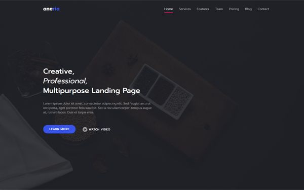Aneria - Landing Page Template | Bootstrap Landing Pages ...