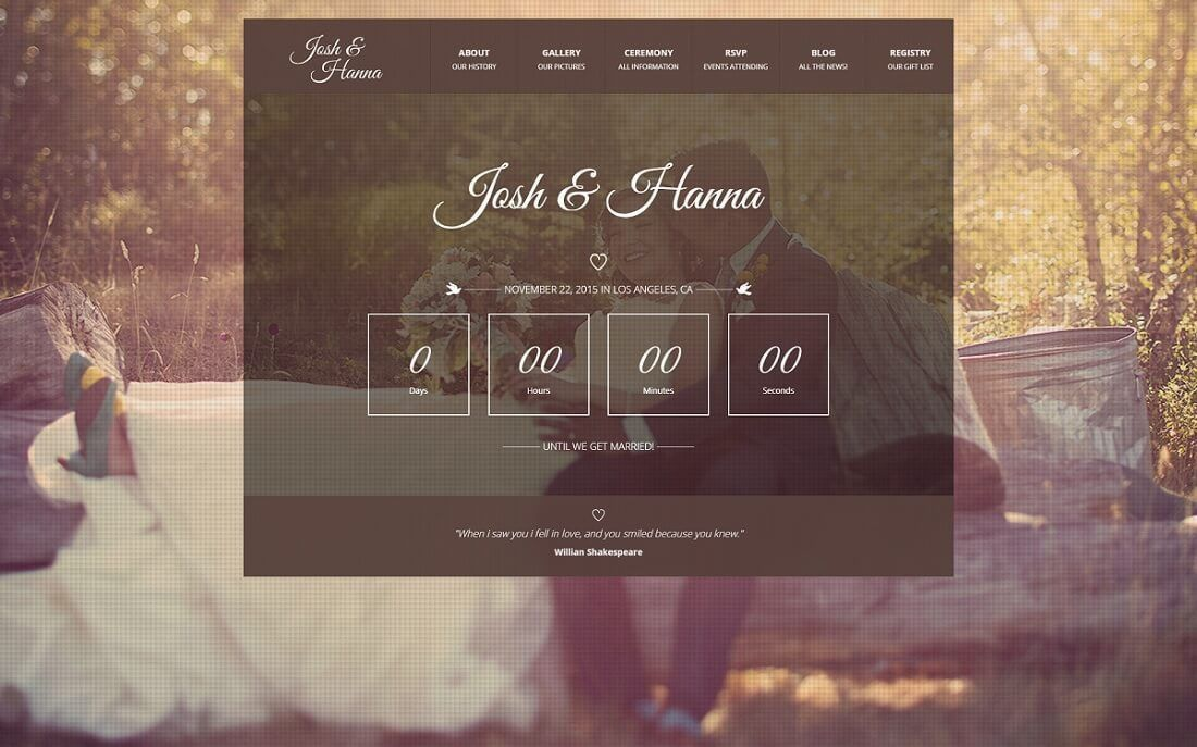 16 Beautiful HTML Wedding Website Templates 2017 - Colorlib