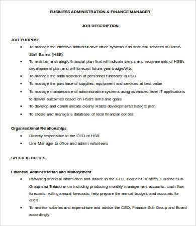 financial manager job description 8 free word pdf format