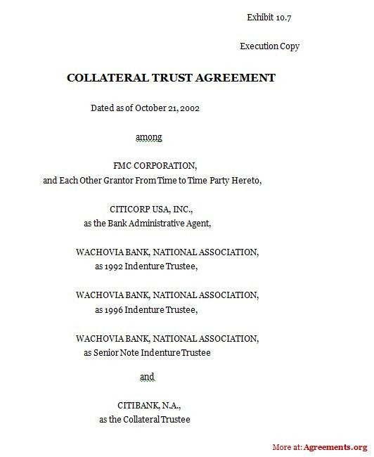 Collateral Trust Agreement, Sample Collateral Trust Agreement ...