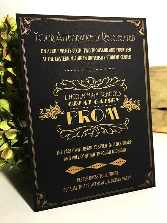 Prom Wedding Invitation Art Deco Great Gatsby Theme Gold on Black ...