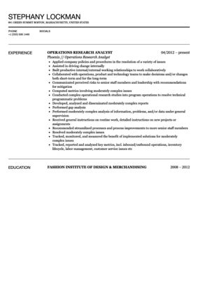 Operations Research Analyst Resume Sample | Velvet Jobs