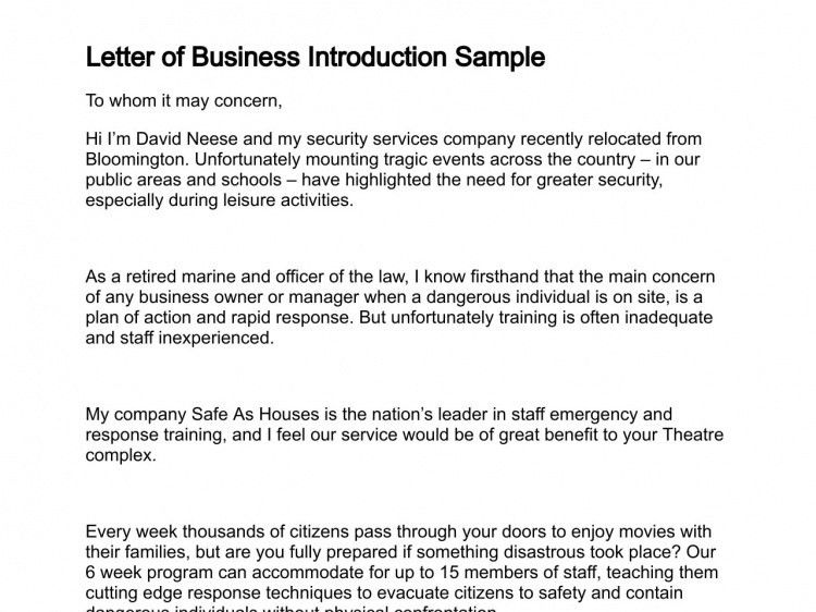 Introduction Letter Sample For New Business | The Letter Sample