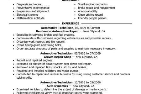 Auto Tech Resume Sample - Reentrycorps