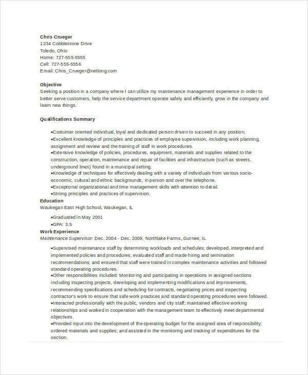Maintenance Resume - 9+ Free Word, PDF Documents Download | Free ...