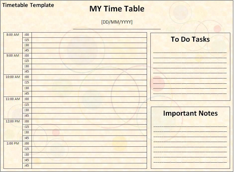 Timetable Template - Word Excel PDF