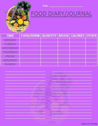 Food Journal Template | Wordtemplateshub.com