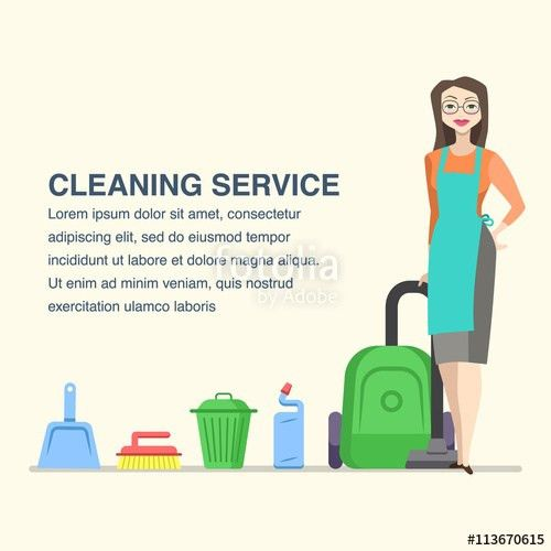 Cleaning service banner for advertisement with cartoon woman ...