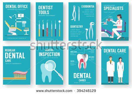 Dental office interior illustration background. Dental icons ...