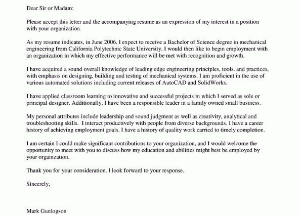 Mechanical Engineering Cover Letters regarding mechanical ...