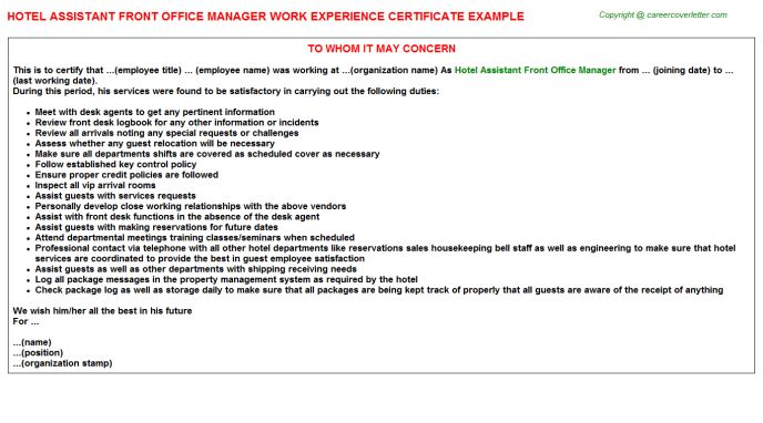 Hotel Assistant Front Office Manager Work Experience Certificate
