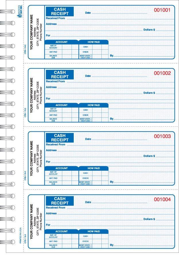 CRB-119, Wire Bound Cash Receipt Book