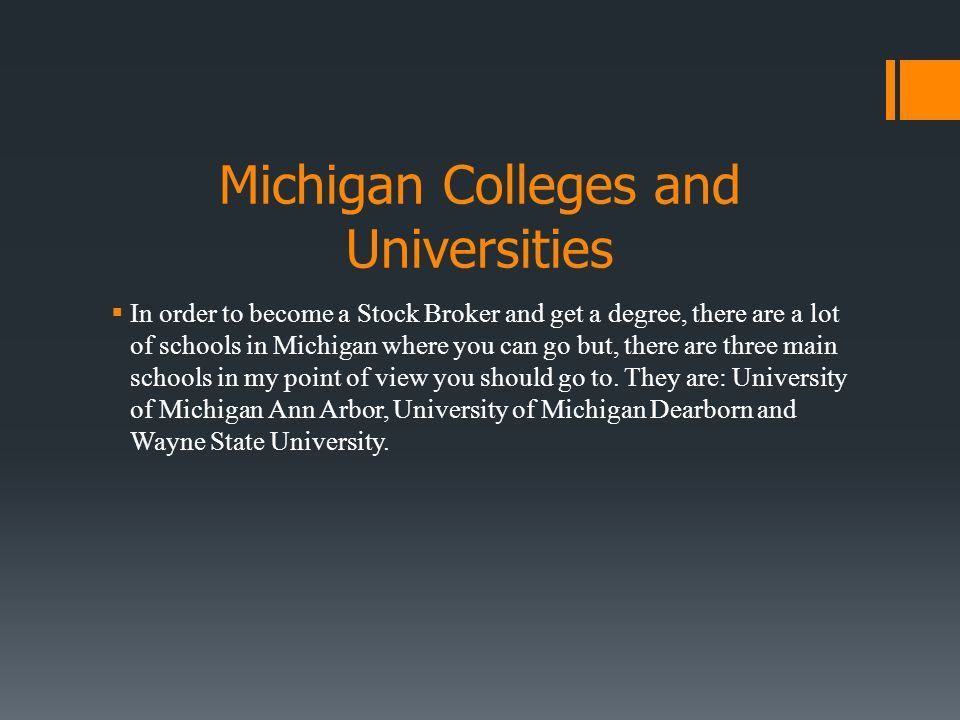 Stock Broker Usman Abrar. Michigan Colleges and Universities  In ...