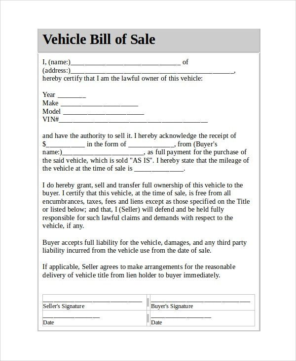 Sample Vehicle Bill of Sale - 7+ Documents in PDF, Word