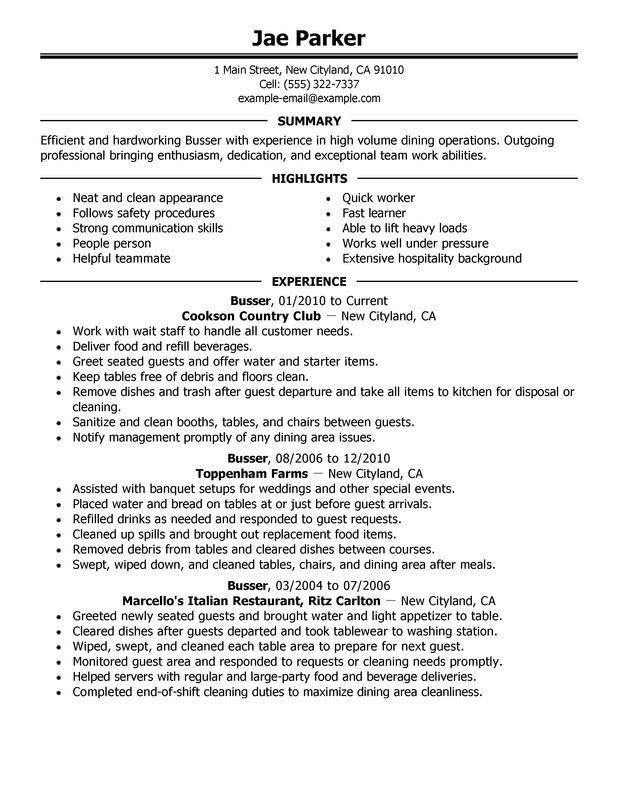 Unforgettable Busser Resume Examples to Stand Out | MyPerfectResume
