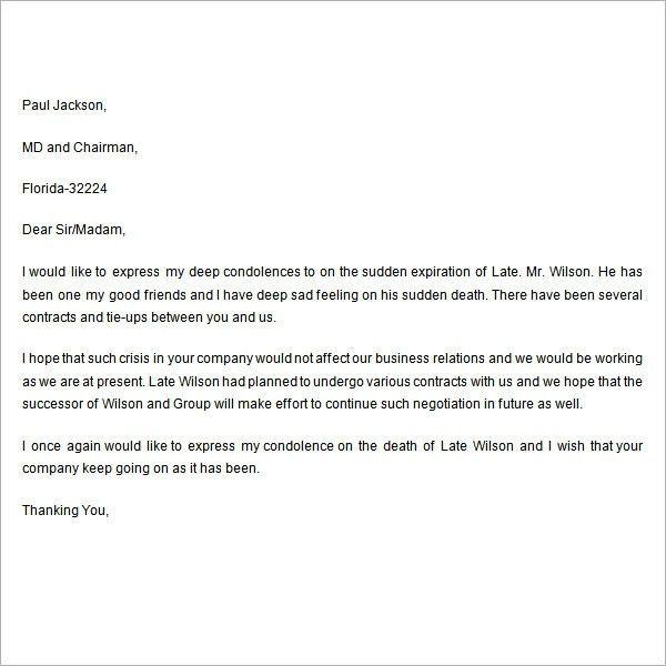 Formal Condolences Letter [Template.billybullock.us ]