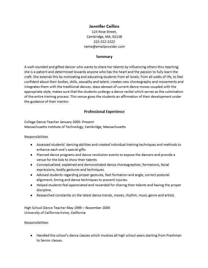 sample dance resumes resume cv cover letter. sample professional ...