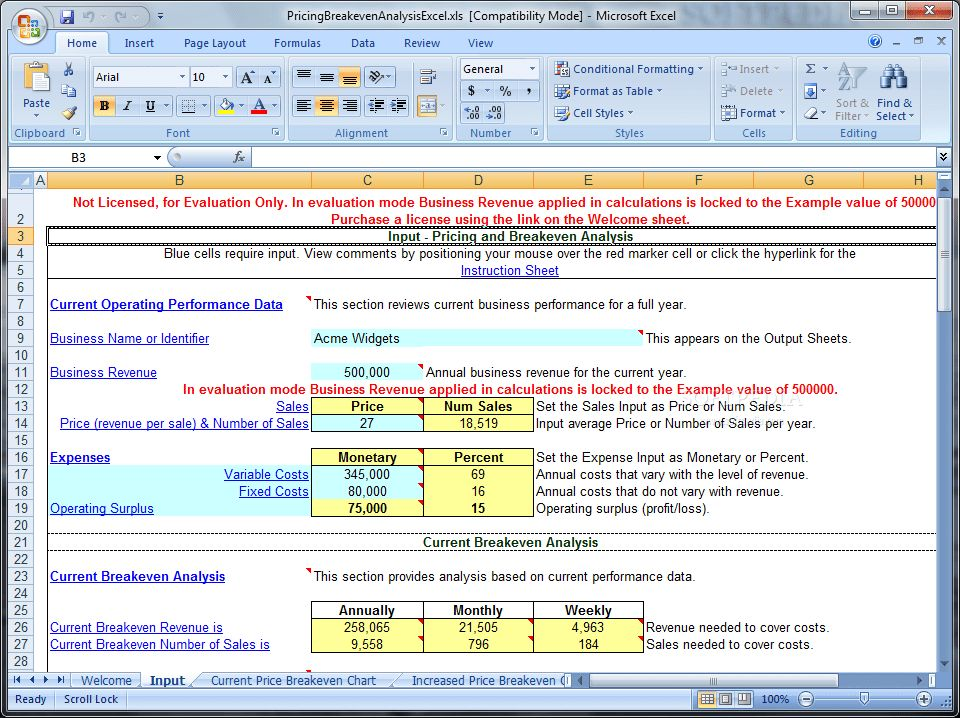 Pricing and Breakeven Analysis Excel Download