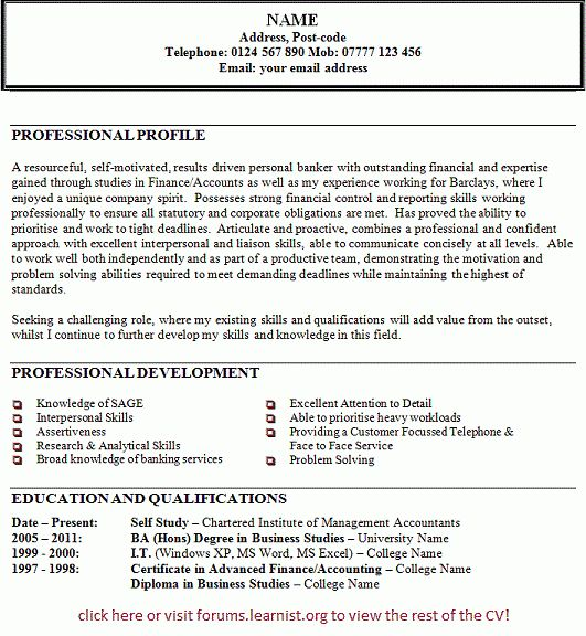 Personal Banker CV Example - forums.learnist.org