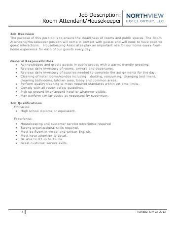 Housekeeping Job Description. Job Performance Evaluation ...