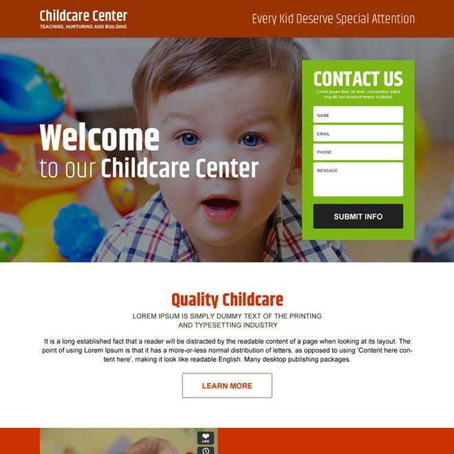 Purchase converting child care business lead capture landing page ...