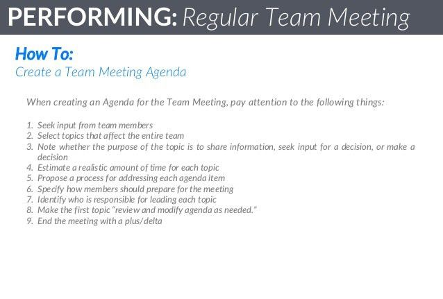 Team Standards - Performing : Regular Team Meetings
