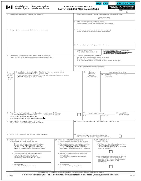 Memorandum D1-4-1 - CBSA Invoice Requirements