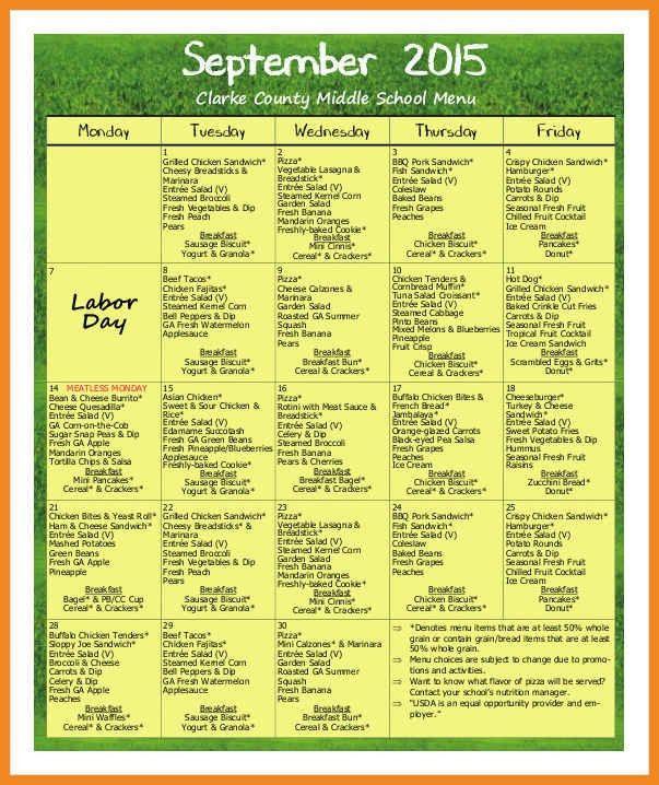school lunch menu template | art resume examples