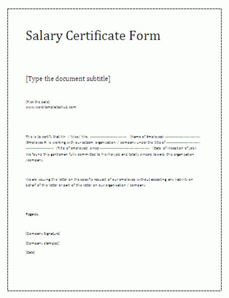 21+ Free Salary Certificate Template - Word Excel Formats