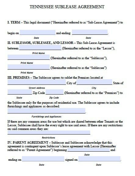 Free Tennessee Sublease Agreement Form – PDF Template
